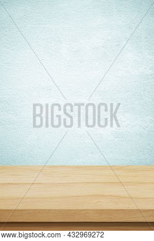 Vertical Brown Wood Table And Green Cement Wall Background In Kitchen, Wooden Shelf, Counter For Foo
