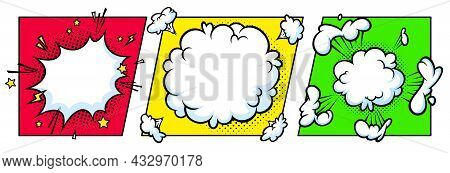 Surprising Boom Cloud In Halftone Background For Sales And Promotions. Colorful Banner Template For