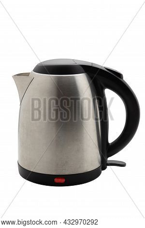 Silver Electric Kettle Isolated On A White Background, Water Kettle, Fast Heating. Coffee Shop Equip