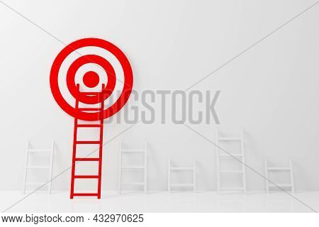 Stand Out From The Crowd And Think Different Creative Idea Concepts. Longest Red Color Ladder Growin