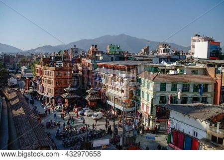 Kathmandu, Nepal -december 28, 2011: View To  Temples And Houses In Durbar Square In Kathmandu