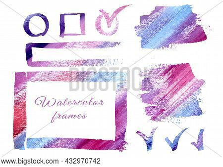 Multicolor Watercolor Design Elements, Watercolor Gradient Colorful Frames Freehand Drawing. Multico