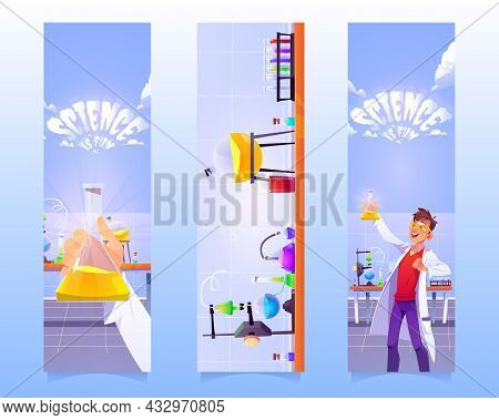 Bookmarks With Man With Flask In Chemical Laboratory. Vector Vertical Banners Of Education Presentat