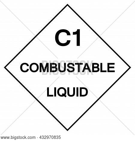C1 Combustable Liquid Label Symbol Sign ,vector Illustration, Isolate On White Background Label .eps