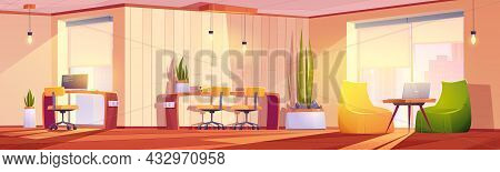Coworking Office With Tables, Chairs, Laptops And Plants. Vector Cartoon Empty Interior Of Open Spac