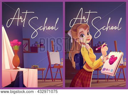 Art School Posters With Girl Painter And Studio Interior With Canvas, Drapery And Flowers In Vase. V