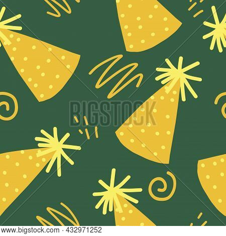 Party Hat And Doodles Seamless Pattern. Vector Hand Drawn. Wallpaper, Wrapping Paper, Textiles. Birt