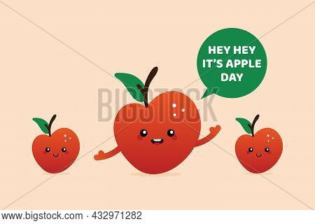 National Apple Day Greeting Card, Vector Illustration Cute Cartoon Style Smiling Red Apple Character