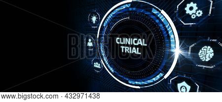 Business, Technology, Internet And Networking Concept.  Keyword: Clinical Trial 3d Illustration