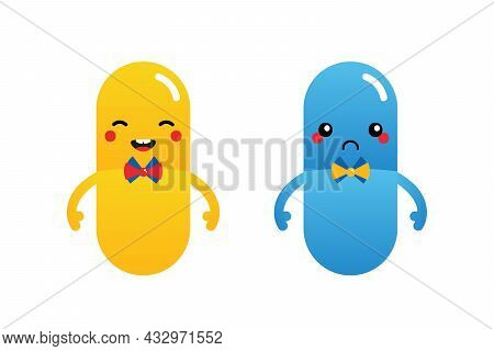 Couple Of Colorful Cartoon Style Pills, Medications Characters, Cute Smiling And Sad.
