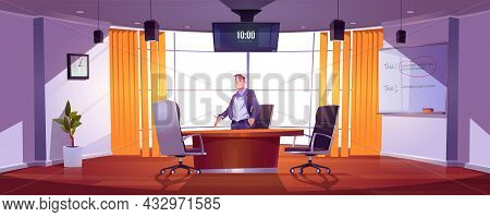 Businessman In Conference Room For Meetings, Presentation For Team, Discussion Or Training. Vector C