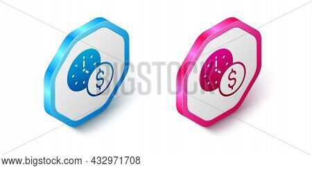 Isometric Time Is Money Icon Isolated On White Background. Money Is Time. Effective Time Management.