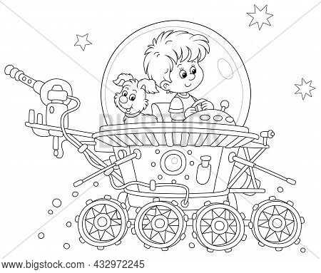 Little Boy With His Small Pup Piloting A Toy Lunar Rover In An Expedition Somewhere Beyond The Plane