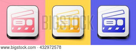 Isometric Movie Clapper Icon Isolated On Pink, Yellow And Blue Background. Film Clapper Board. Clapp