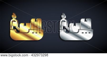 Gold And Silver Cargo Ship With Boxes Delivery Service Icon Isolated On Black Background. Delivery,