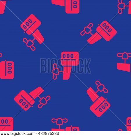 Red Outboard Boat Motor Icon Isolated Seamless Pattern On Blue Background. Boat Engine. Vector
