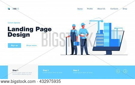 Engineers Standing Near Big Monitor With Buildings. Project, Crane, Screen Flat Vector Illustration.