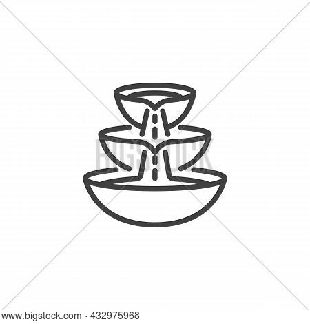 Three Level Fountain Line Icon. Linear Style Sign For Mobile Concept And Web Design. Water Fountain