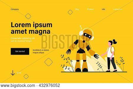 Girl Talking To Robot. Humanoid, Cyborg, Machine Flat Vector Illustration. Robotics Class, Artificia