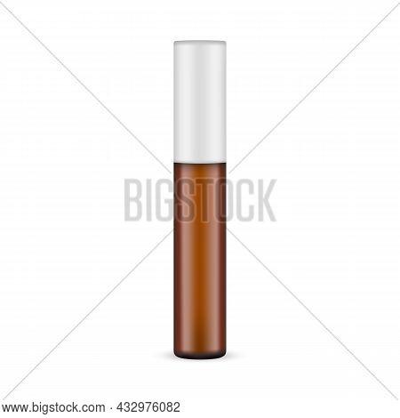 Amber Glass Cosmetic Bottle For Balm, Mascara Or Oil. Vector Illustration