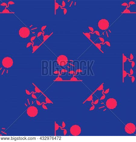 Red Plant Sprouts Grow In The Sun Icon Isolated Seamless Pattern On Blue Background. Seedling Concep