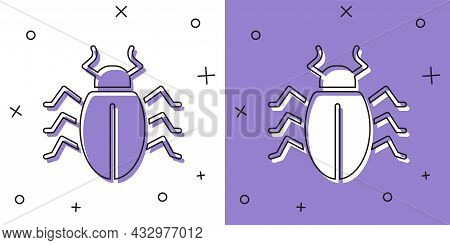 Set Colorado Beetle Icon Isolated On White And Purple Background. Vector