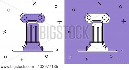 Set Law Pillar Icon Isolated On White And Purple Background. Ancient Column. Vector
