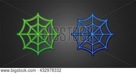 Green And Blue Spider Web Icon Isolated On Black Background. Cobweb Sign. Happy Halloween Party. Vec