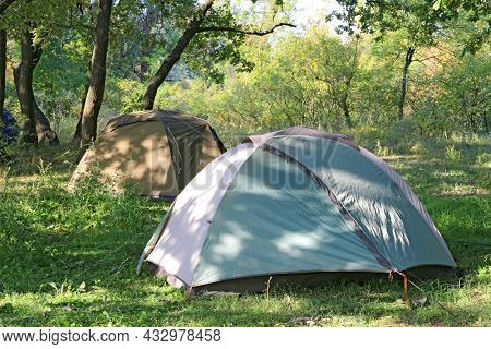 Tourist tents in forest camp
