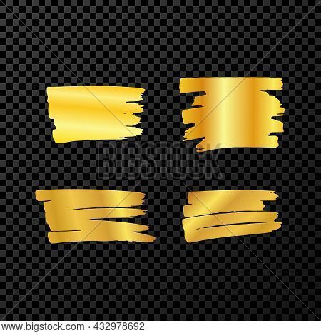Scribble With A Gold Marker. Set Of Four Doodle Style Various Scribbles. Gold Hand Drawn Design Elem