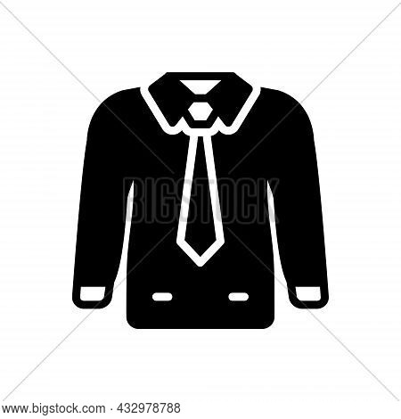 Black Solid Icon For Formal Dress Tie Wear Fashion Clothes Uniform Togs Suit Male Costume Habiliment