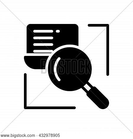 Black Solid Icon For Research Investigation Inquiry Finding Magnifying Discovery Review Glass-lens