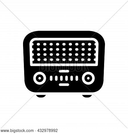 Black Solid Icon For Former First Sooner Primarily Radio Electrical Retro Wireless Antenna Previousl