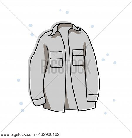 Warm Shirt Jacket With Large Pockets In Gray. Cozy Warm Clothes. Winter Outfit. Clothing For Sports