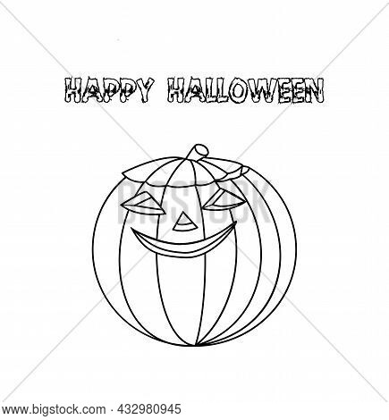 Happy Halloween. Black And White Pumpkin Face Smiling. Vector Illustration In Doodle Style For Color