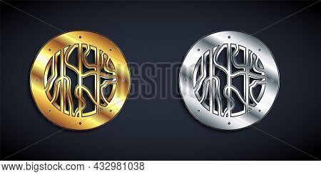 Gold And Silver Round Wooden Shield Icon Isolated On Black Background. Security, Safety, Protection,