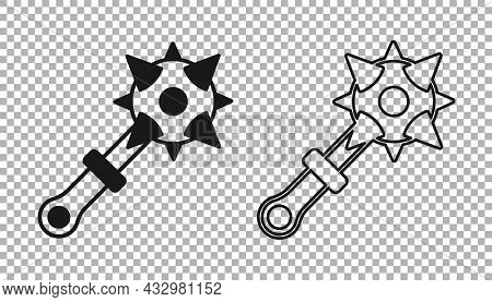 Black Medieval Chained Mace Ball Icon Isolated On Transparent Background. Morgenstern Medieval Weapo