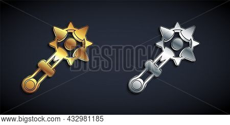 Gold And Silver Medieval Chained Mace Ball Icon Isolated On Black Background. Morgenstern Medieval W