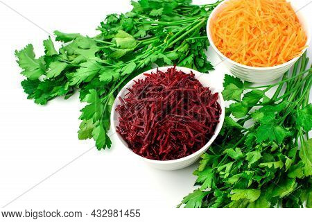 Grated Carrots And Grated Beets In White Bowls, Fresh Green Parsley, Isolated On White. Set Of Veget