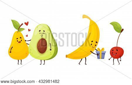 Cute Fruit And Vegetable Couples Embracing And Giving Gift Box Vector Set