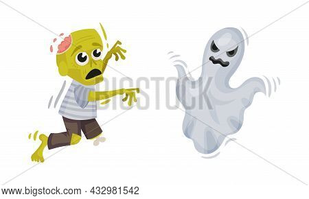 Green Zombie And Flying Ghost As Halloween Symbol Vector Set