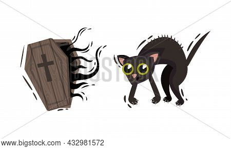 Coffin Of Dracula And Black Cat As Halloween Symbol Vector Set