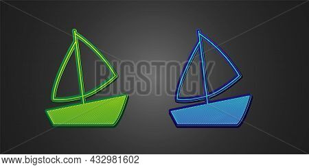Green And Blue Yacht Sailboat Or Sailing Ship Icon Isolated On Black Background. Sail Boat Marine Cr