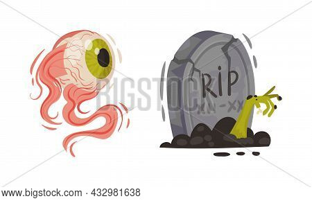 Tomb With Zombie Hand And Eye As Halloween Symbol Vector Set