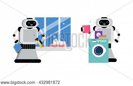 Housekeeping Robot Performing Domestic Chores Vector Set