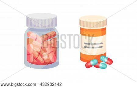 Jar With Tablet Or Pill As Pharmaceutical Medication Vector Set