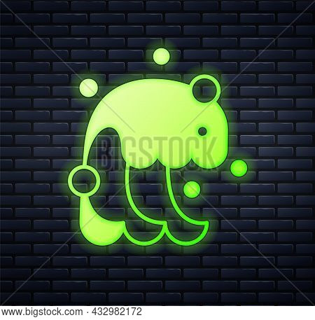 Glowing Neon Tsunami Icon Isolated On Brick Wall Background. Flood Disaster. Stormy Weather By Seasi