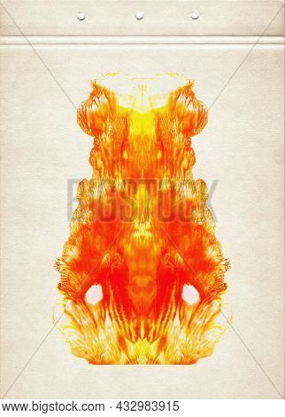 Stylized Drawing Of Fire On A Sheet Of Brown Aged Paper. Watercolor Painting On Old Paper. Fine Abst