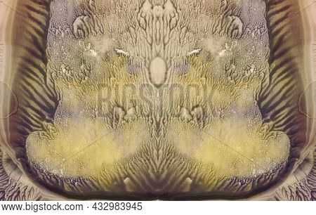 Fine Symmetrical Artistic Watercolor Painting. Abstract Grunge Color Background For Original Design.