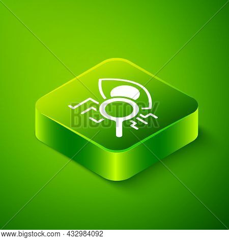 Isometric Eye Scan Icon Isolated On Green Background. Retinal Scan. Scanning Eye. Security Check Sym